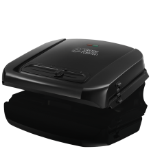 Entertaining 6 Portion Black Grill with Removable Plates