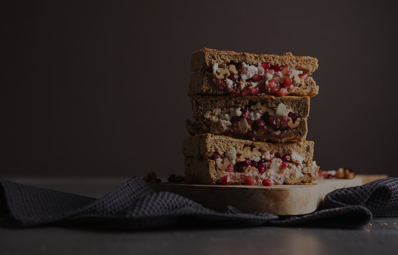 Feta, Pomegranate and Walnut Toastie