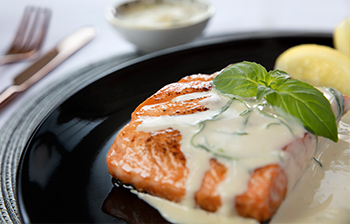Grilled Salmon with Lemon Basil Butter