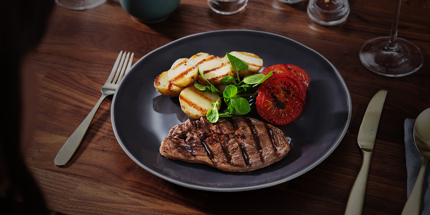 Lamb Steak with Grilled Tomatoes and Potatoes