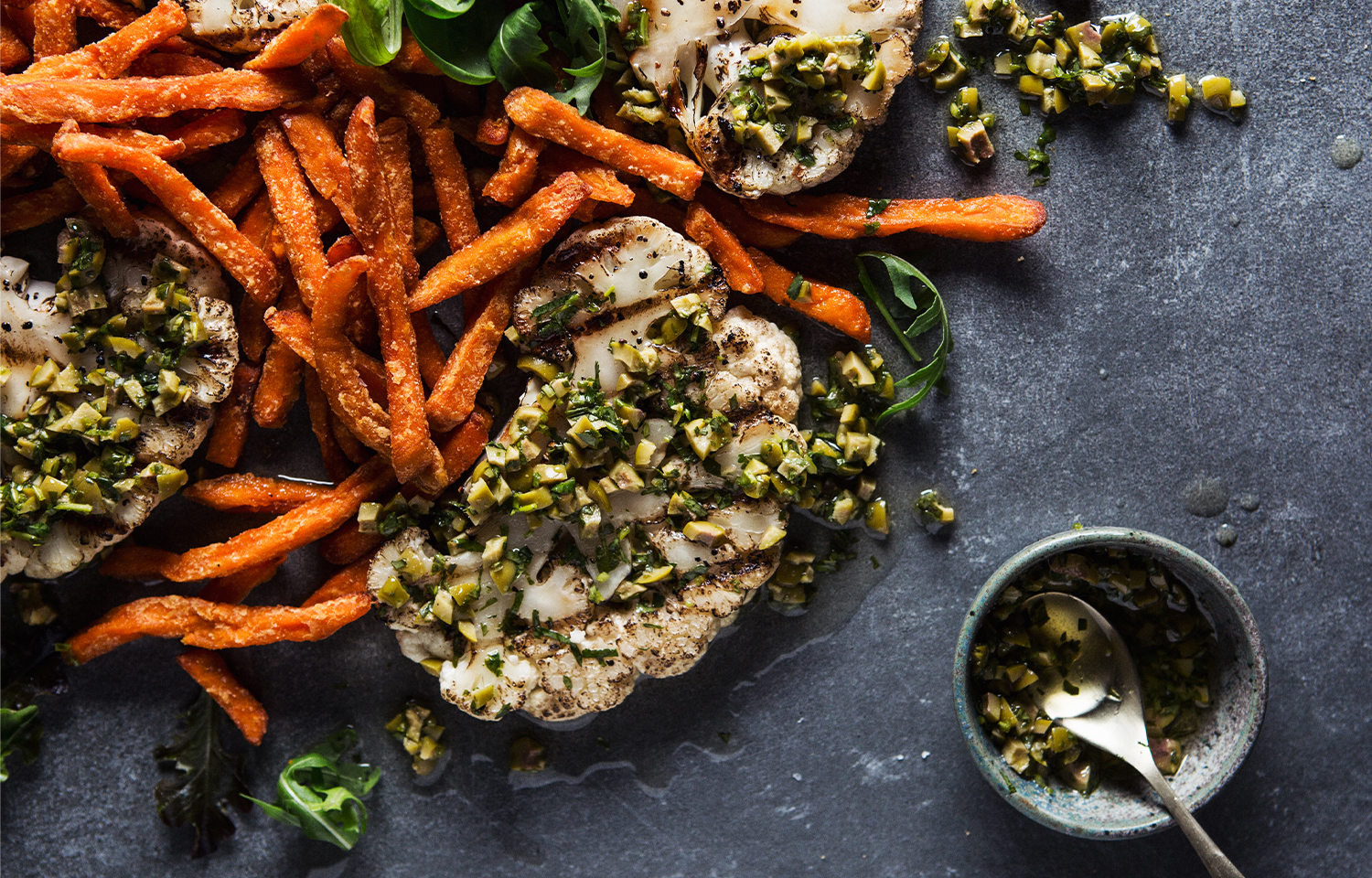 Cauliflower Steaks with Olive and Herb Salsa