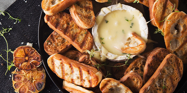 Baked Cheese with Garlic Croutons