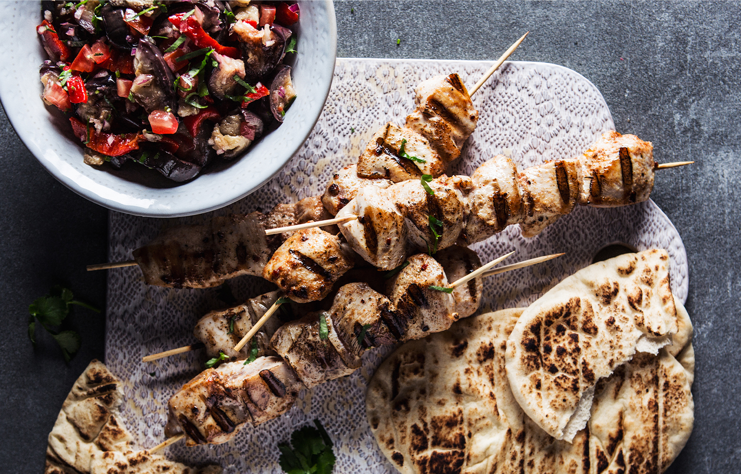 Chicken Skewers with Chunky Grilled Aubergine Salsa
