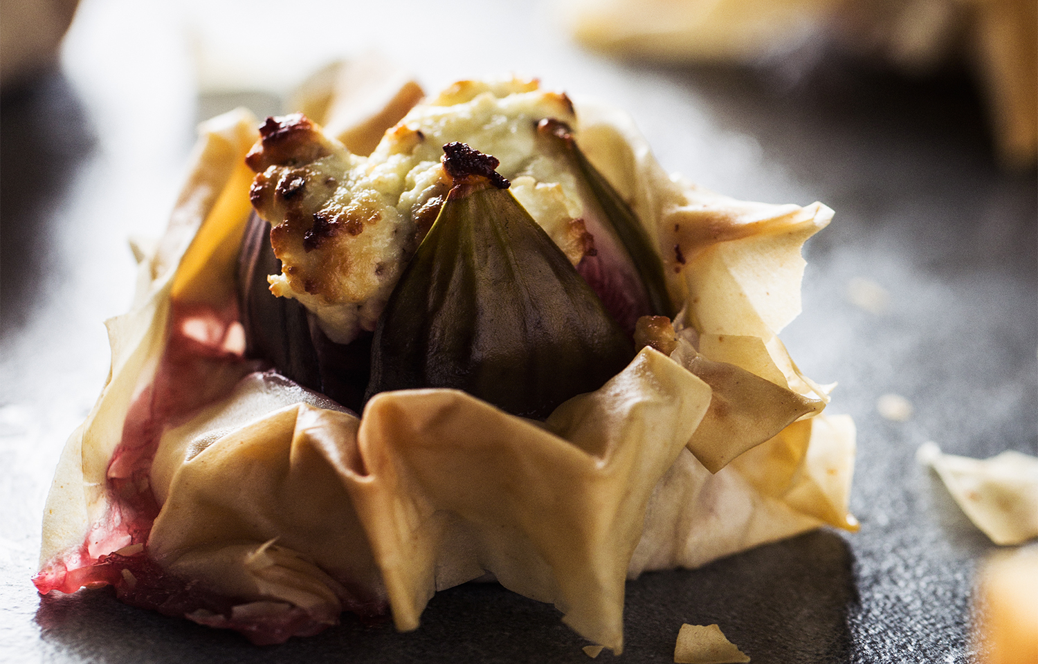Filo and Goats' Cheese Baked Figs