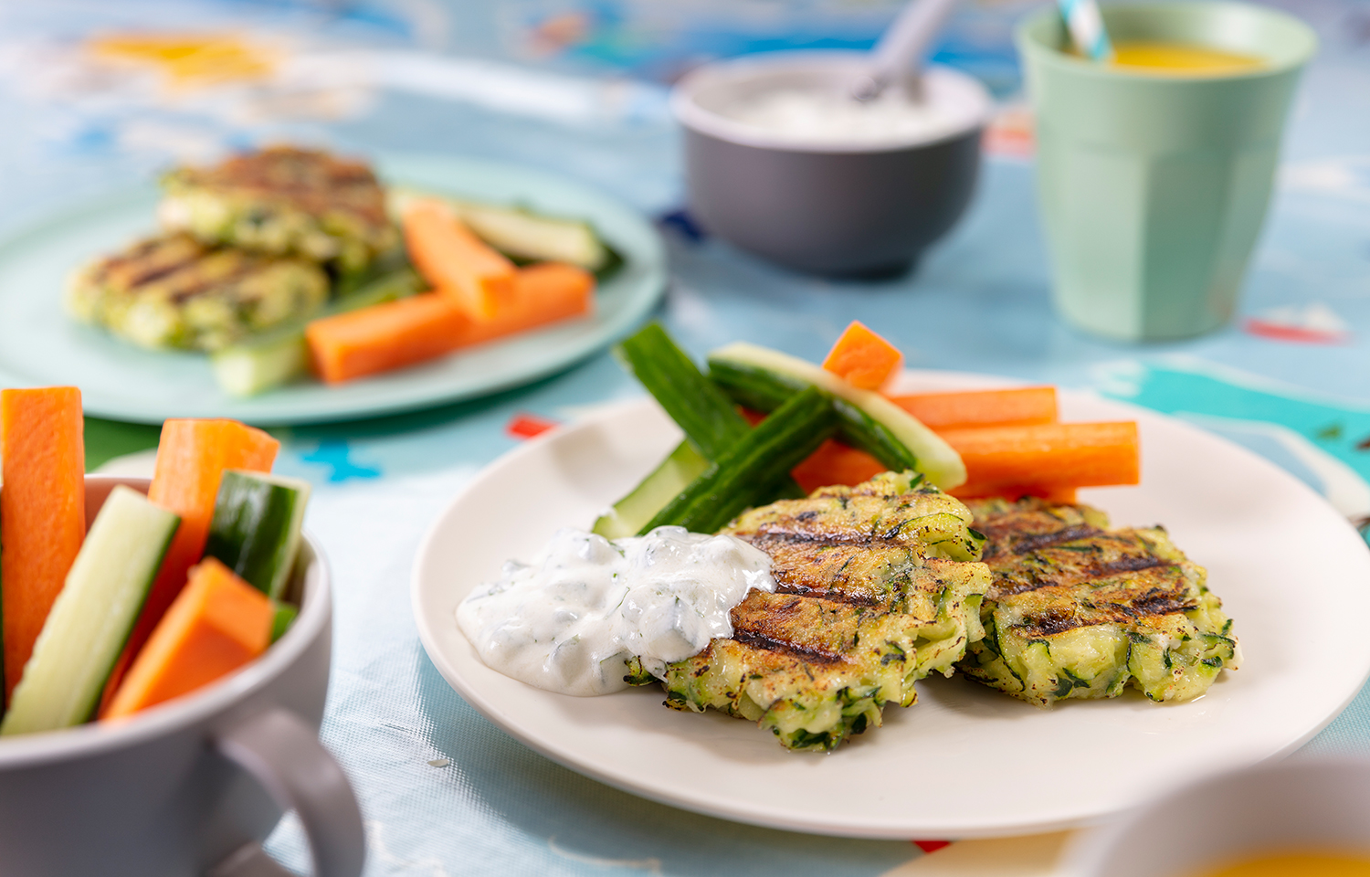 Courgette Feta Fritters with Tzatziki