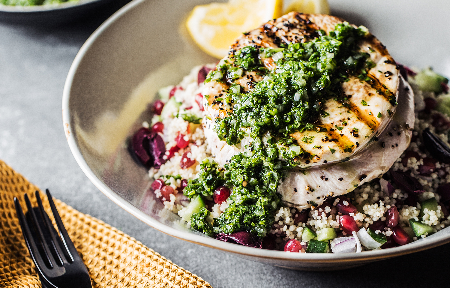 Grilled Turkey Steak with Chimichurri Salsa
