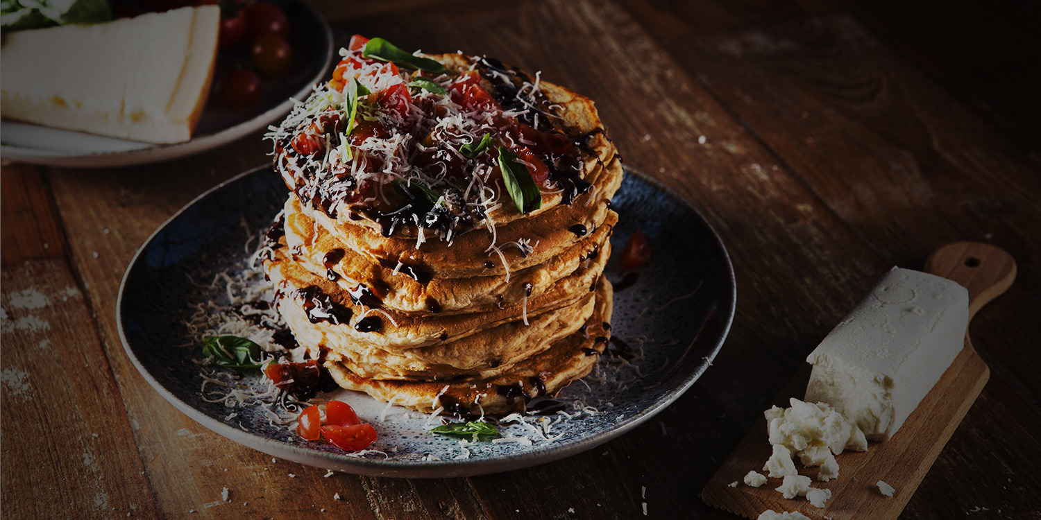 Triple Cheese and Cherry Tomato Pancakes